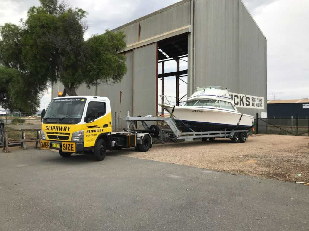Slip Away providing marine transport to a warehouse for boat storage