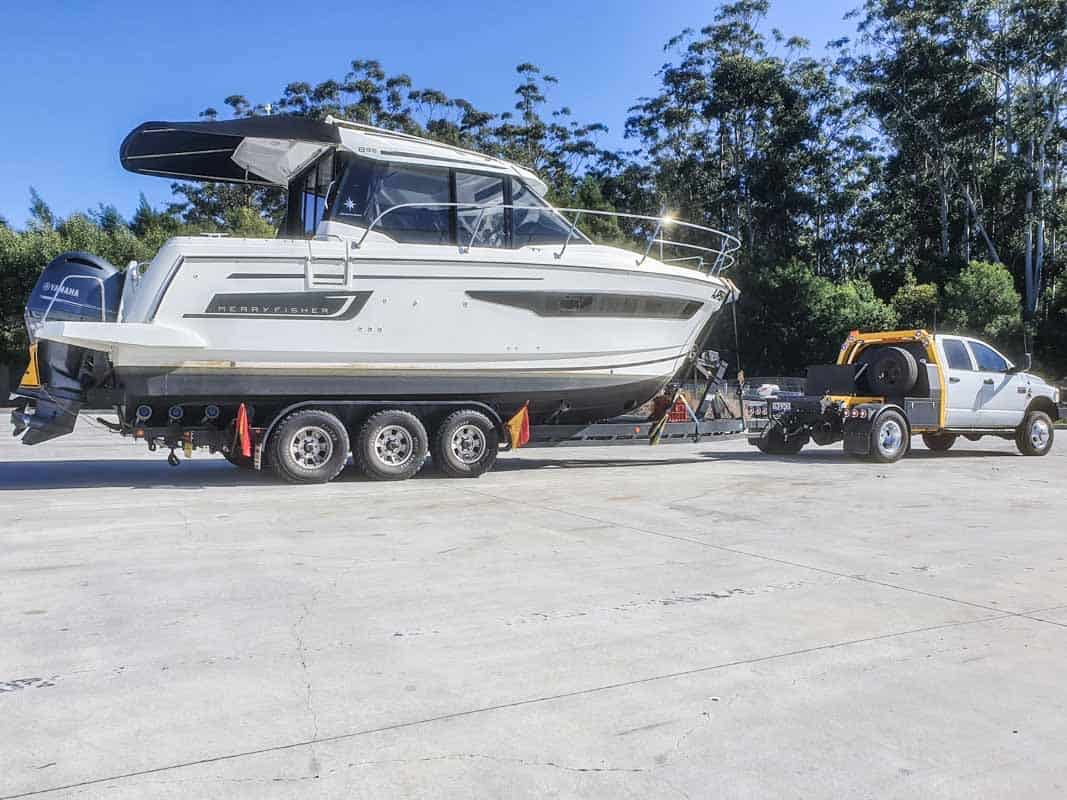 Boat Transport Brisbane to Sydney Moving a 895 Merry Fisher boat from Queensland to New South Wales to be put in the water by Slip Away interstate Boat Transport company at a marina in the Hawksbury