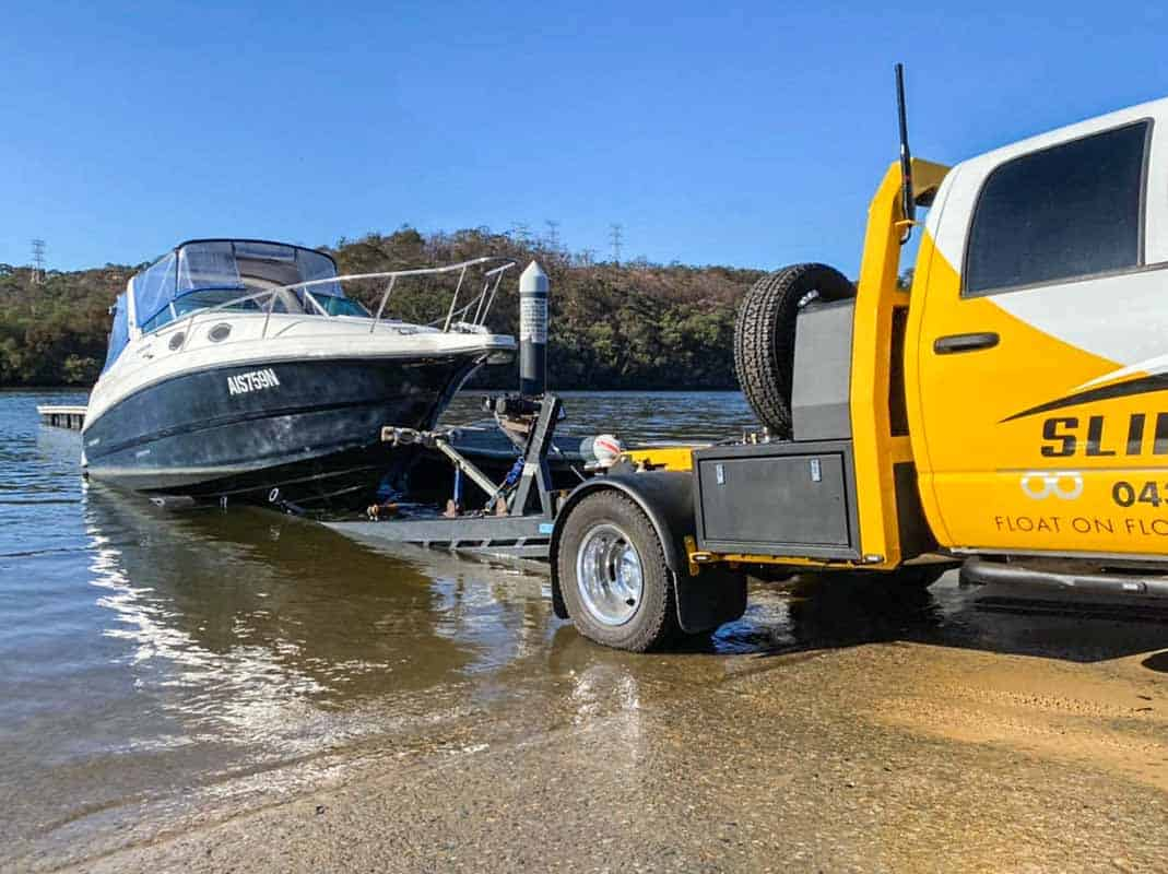 Sydney boat moving for a Mustang 2800 from George's River to Drummoyne by Slip Away boat transportation company in New South Wales