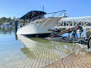 A brand new boat Nauticstar 25 VMAX 24 with twin 400 outboard motor transported from Yowie Bay in NSW from a boat ramp taken by Slip Away