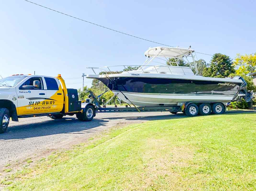 Moving a 295 Proline Boat from Berkshire Park to Drummoyne boat ramp by Slip Away Boat Transport in Sydney picked up at the house
