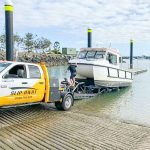 Float on Float Off Boat Transport Slip Away hauling a X Martine Catamaran by road in Sydney to the boat ramp