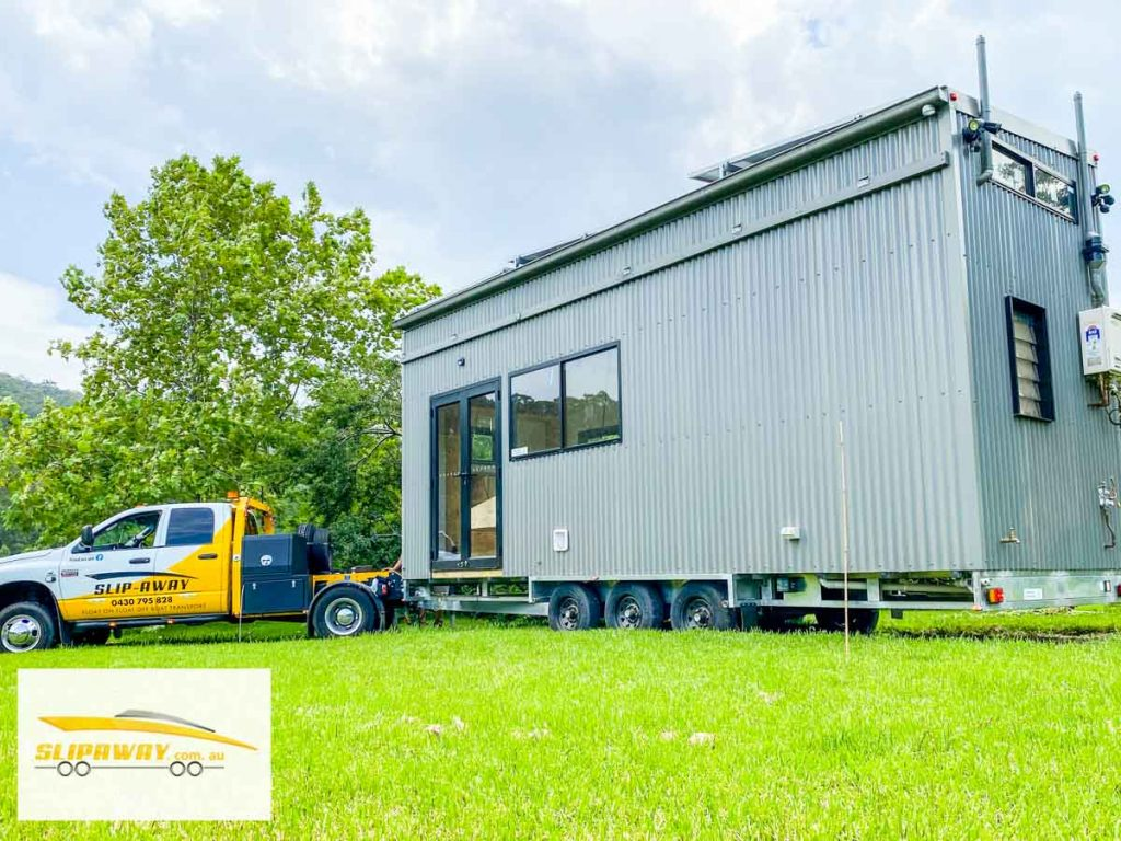 Tiny home transport hauling or moving by road in New South Wales by Slip Away transportation business