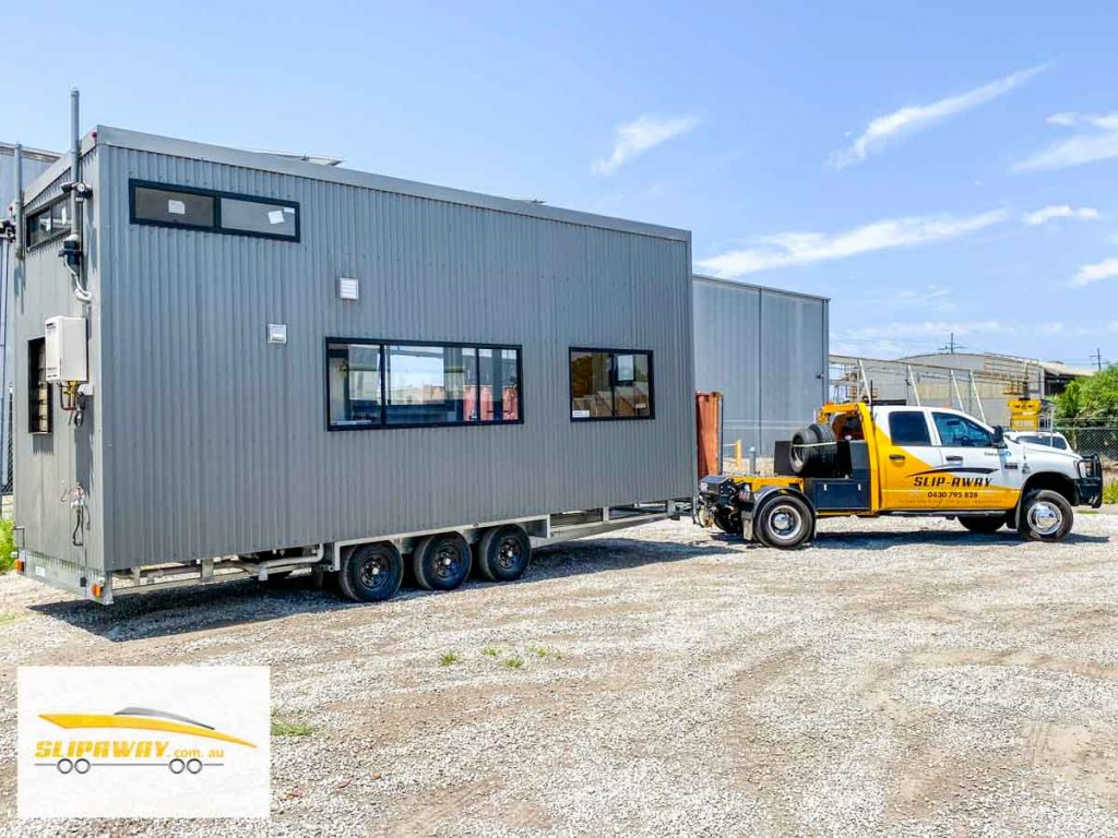 Tiny home transport hauling or moving by road in Sydney by Slip Away transportation business