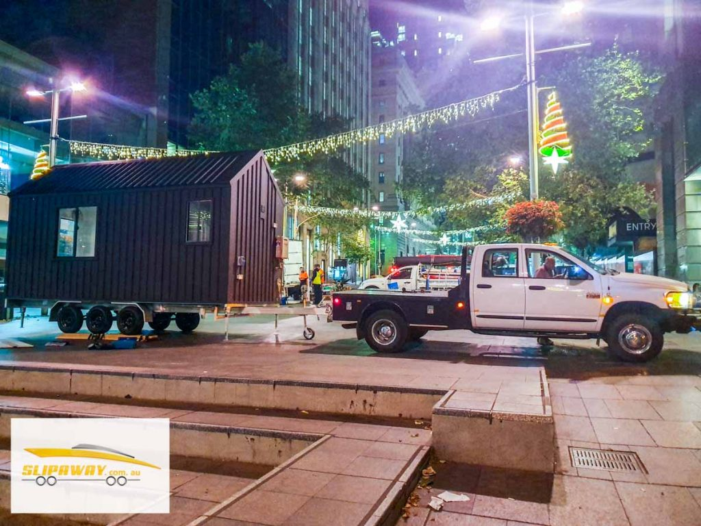 Tiny home transport hauling or moving in Sydney by Slip Away transportation business