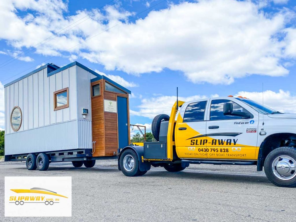 Tiny home transport, hauling or moving in Sydney to Blue Mountains by Slip Away transportation business