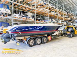 Slip Away Sydney to Melbourne used boat transport Chris Craft Launch 28 from Sydney Boat House to R M Marine Services in Victoria