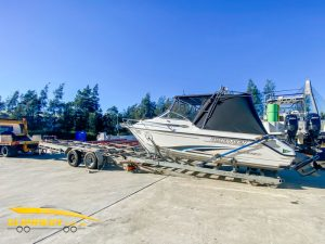 Slip Away Whittley SL22 Sea Legend Sydney boat transported by road to Ocean Concepts for Kota Bracket in Wetherill Park by Slip Away on trailer