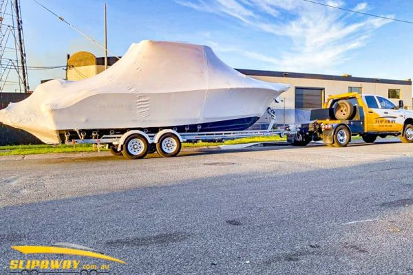 SLIP AWAY INTERSTATE BOAT TRANSPORT FOR BRAND NEW NAUTICSTAR 25 VMAX 24 WITH TWIN 400 OUTBOARD MOTOR FROM YOWIE BAY TO GOLD COAST 22