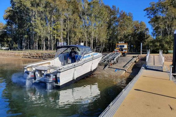 SLIP AWAY PUTTING A BOAT INTO THE WATER WITH ITS SLIP CRADLE HIRE ALTERNATIVE TO BOAT TRAILER HIRE